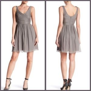 J Crew Gray Heidi Silk Chiffon Dress